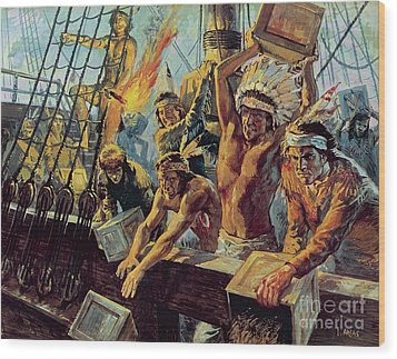 The Boston Tea Party Wood Print by Luis Arcas Brauner