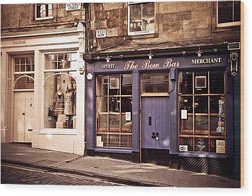 The Bow Bar. Edinburgh. Scotland Wood Print by Jenny Rainbow
