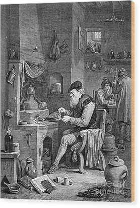 The Chemist, 17th Century Wood Print by Science Source