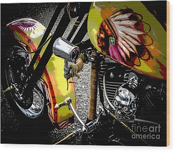 The Chief Rides Wood Print by Chuck Re
