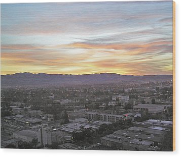 The Colors Of The Sky Over San Jose At Sunset Wood Print by Ashish Agarwal