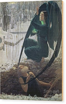 The Death And The Gravedigger Wood Print by Carlos Schwabe