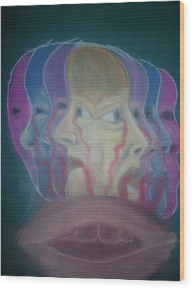 The Faces Of Depression Wood Print by Cathy Snowbeck