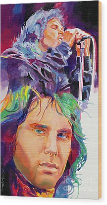 The Faces Of Jim Morrison Wood Print by David Lloyd Glover