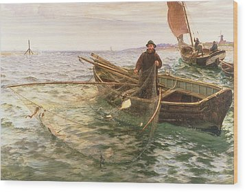 The Fisherman Wood Print by Charles Napier Hemy