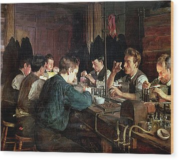 The Glass Blowers Wood Print by Charles Frederic Ulrich