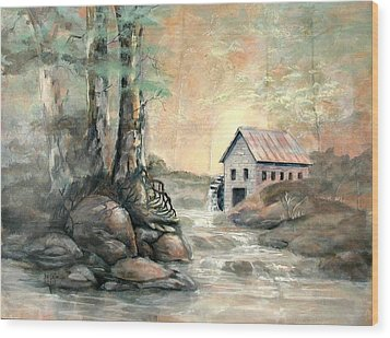 The Grist Mill Wood Print by Gary Partin