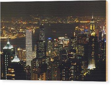 The Hong Kong Skyline Seen Wood Print by Justin Guariglia