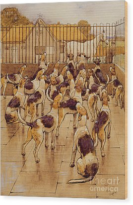 The Hounds Began Suddenly To Howl In Chorus  Wood Print by Cecil Charles Windsor Aldin