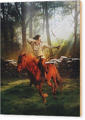 The Hunter Wood Print by Mary Hood