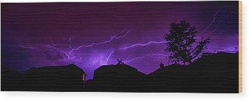 The Lightning Over Avery Neighborhood Wood Print by Lisa  Spencer