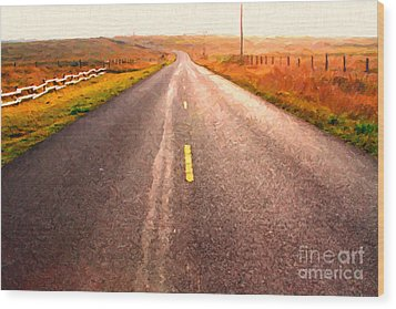 The Long Road Home . Painterly Style Wood Print by Wingsdomain Art and Photography