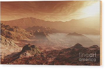 The Martian Sun Sets Over The High Wood Print by Steven Hobbs