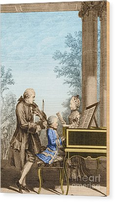 The Mozart Family On Tour 1763 Wood Print by Photo Researchers