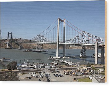 The New Alfred Zampa Memorial Bridge And The Old Carquinez Bridge . 5d16798 Wood Print by Wingsdomain Art and Photography