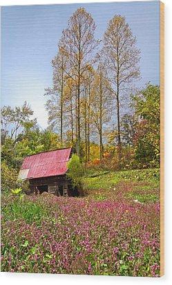 The Old Barn At Grandpas Farm Wood Print by Debra and Dave Vanderlaan