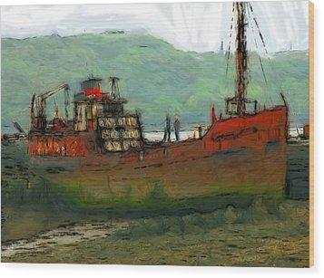 The Old Fishing Trawler Wood Print by Steve K