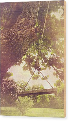 The Old Swing Wood Print by Susan Bordelon