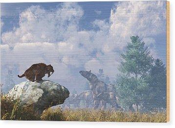 The Paraceratherium Migration Wood Print by Daniel Eskridge