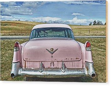 The Pink Cadillac Wood Print by Kathy Jennings
