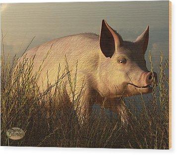 The Pink Pig Wood Print by Daniel Eskridge