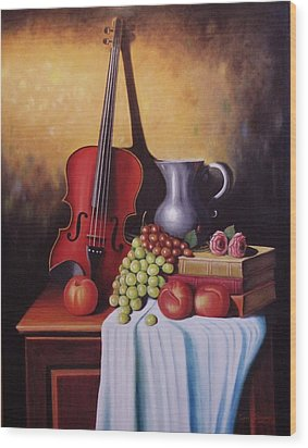 The Red Violin Wood Print by Gene Gregory