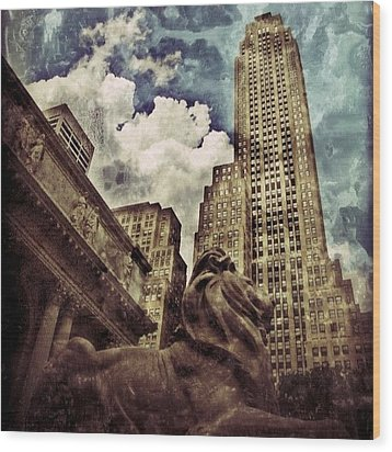 The Resting Lion - Nyc Wood Print by Joel Lopez