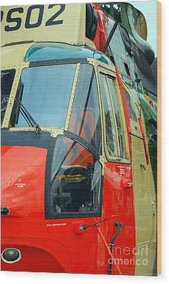 The Sea King Helicopter Used Wood Print by Luc De Jaeger