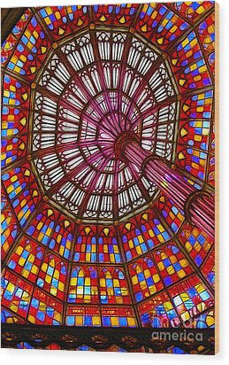 The Stained Glass Ceiling Wood Print by Judi Bagwell