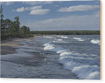 The Surf Breaks On A Beach Wood Print by Raymond Gehman