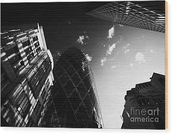 The Swiss Re Gherkin Building At 30 St Mary Axe City Of London England Uk United Kingdom Wood Print by Joe Fox