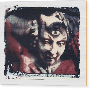 The Third Eye Polaroid Transfer Wood Print by Jane Linders