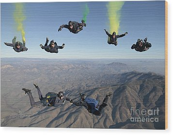 The U.s. Navy Parachute Demonstration Wood Print by Stocktrek Images
