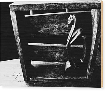 Thinking Inside The Box Wood Print by Sally Bauer