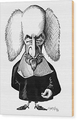 Thomas Hobbes, Caricature Wood Print by Gary Brown