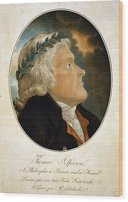 Thomas Jefferson, Color Aquatint Afte Wood Print by Everett