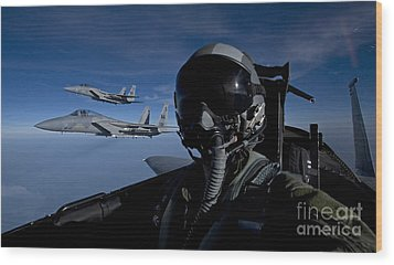 Three F-15 Eagles Fly High Wood Print by HIGH-G Productions