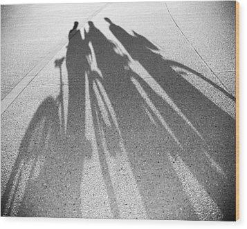 Three Friends On Bikes Wood Print by Julie Niemela