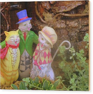 Three Little Kitten Who Lost Their Mittens Wood Print by Mindy Newman