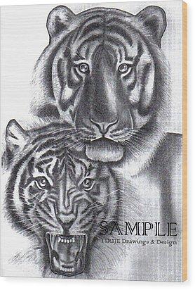Tigers Wood Print by Rick Hill