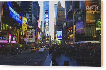Times Square Nyc Wood Print by Moz Art