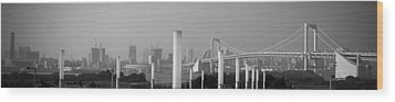 Tokyo Panorama Wood Print by Naxart Studio