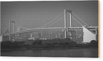 Tokyo Rainbow Bridge Wood Print by Naxart Studio