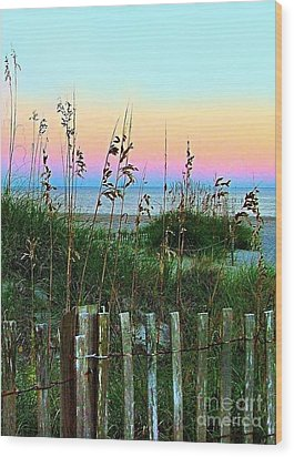 Topsail Island Dunes And Sand Fence Wood Print by Julie Dant