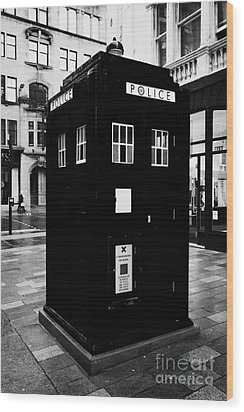 traditional blue police callbox in merchant city glasgow Scotland UK Wood Print by Joe Fox