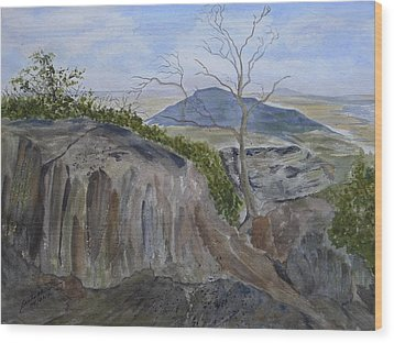Trails End - Rocks Trees And Sky Wood Print by Joel Deutsch