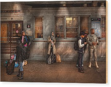Train - Station - Waiting For The Next Train Wood Print by Mike Savad