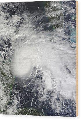 Tropical Storm Ida In The Caribbean Sea Wood Print by Stocktrek Images