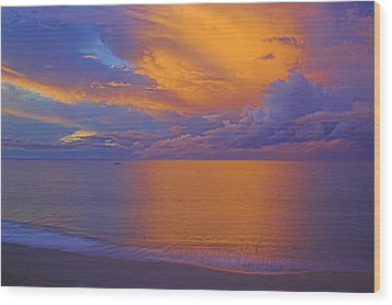 Tropical Sunset-2- St Lucia Wood Print by Chester Williams
