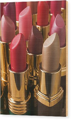 Tubes Of Lipstick Wood Print by Garry Gay